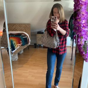 Coach Maggie Optic Purse Grey Canvas Shoulder Bag